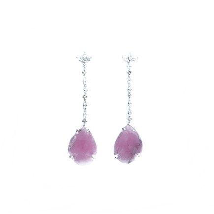 pendientes de brillantes y zafiros rosa